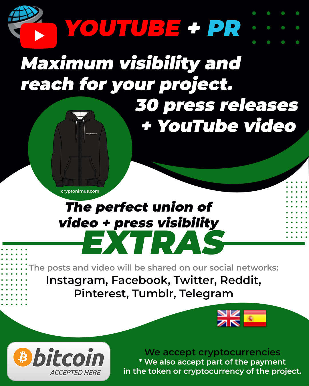 crypto token promo pack youtube and press release cryptonimus advertising